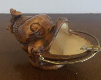 Mid Century Black Americana African Woman wide mouth personal ashtray