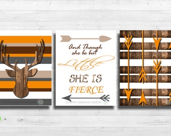 Tribal wall print,deer crib bedding,gender neutral woodland kids art,orange-brown-gray-taupe, rustic wall decor,wood,arrows print canvas 161