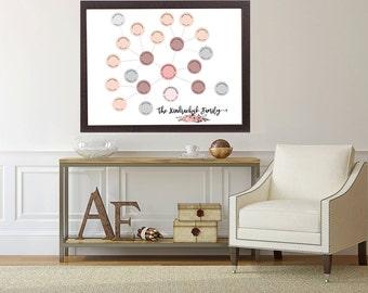 Family tree design, modern genealogy chart, Ancestor & Genealogy Family Tree Chart, gift for mom, gift for dad, family tree printable