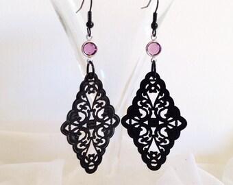 BLACK FILIGREE EARRINGS - Black Laser Cut Earrings - Black Lace Earrings Long Black Dangle - Long Earrings