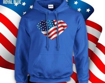 American Superhero Hoodie, adult unisex hoodie, crewneck, campfire shirt 4th of july sweater, 4th of july party shirt, american hero -CT-039