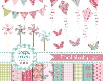 Shabby floral pink,pinwheel,kites, bunting and butterflies, printable digital clipart and paper pack.