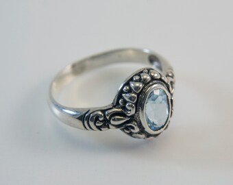 Oval-Cut Blue Topaz Balinese Ring