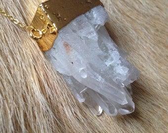 Gold Natural Clear Crystal Quartz Cluster Necklace