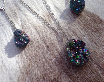 Titanium druzy geode colorful necklace and earrings set