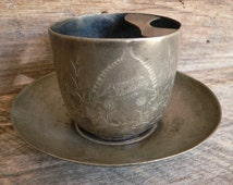 MOUSTACHE CUP with SAUCER: Antique Silver Plate, Pairpoint