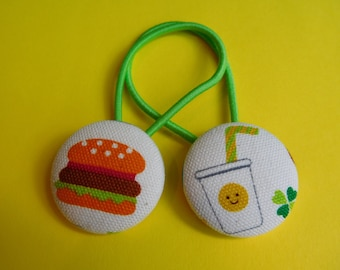 Burger and Drink - Fabric Button Hair Ties - Christmas Stocking Filler