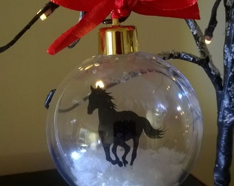 Horse Silhouette in the Snow Acrylic Bauble can be personalised