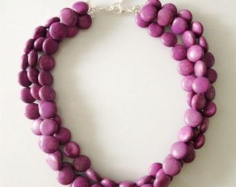 Purple Round Stones Necklace Layers Turquoise Stones Necklace Beaded Beads Statement Necklace