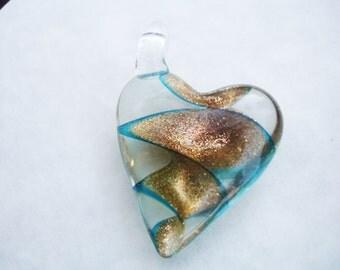 Glass heart, gold heart, murano glass, lampwork glass heart, glass pendant, heart pendant, large heart pendant, heart necklace, hearts