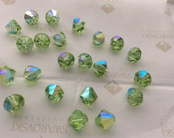 Swarovski #5301 Crystal Peridot AB Bicone Faceted Beads 4mm 5mm 6mm 8mm