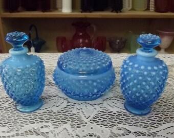 Fenton Blue Hobnail Vanity Set