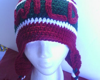 Red burgundy MN Wild crocheted earflap hat