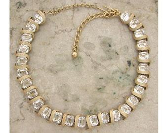 Vintage 1950s KRAMER Necklace Large Emerald-Cut Rhinestone Choker