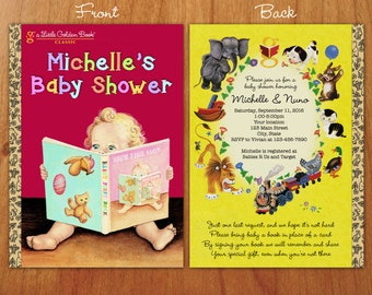 Little Golden Book inspired Baby Shower invitation with front and back cover with bookplate
