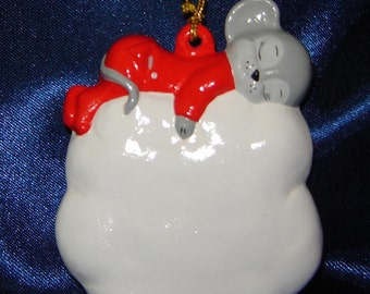 Mouse on Cloud Ornament - Mouse Ornaments - Mice Ornaments - Christmas Ornaments - Ceramic Ornaments