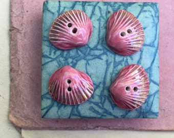 Pair of wonderful vintage 1950 handmade French ceramic buttons, pink & gold glazed sea shell floral, children clothing, jewellery, finding