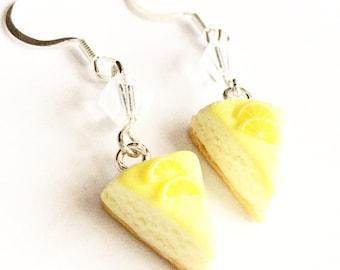 lemon cheesecake earrings- miniature food jewelry, cake earrings, lemon cake