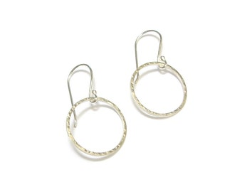 "Earrings ""Simplicidade"" 1-hammered - silver ring"