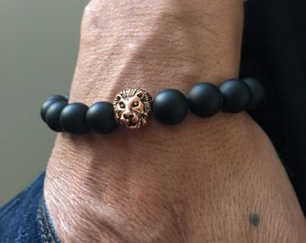 Matte Black Onyx Antique Copper Lion's Head Bracelet, Protection Bracelet, Gift Ideas, Unisex Bracelet, Wellness Bracelet, Birthday Gifts