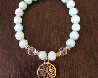 Amazonite Crystal Quartz Gold Labyrinth Bracelet, Healing Bracelet, Spiritual Bracelets, Gifts for Her, Yoga Bracelet, Gift Ideas for Her