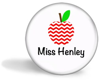 Teacher Magnet Personalised Chevron Apple 5.7cm (2.25 inches)