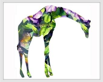 Giraffe Art Print, Giraffe Decor, Giraffe Watercolor Art, Giraffe, Giraffe Wall Decor