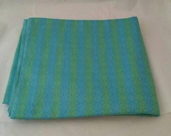 Blue Green See Through Fabric, Striped Yardage