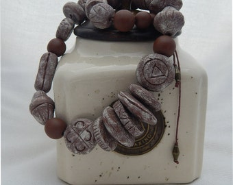 Primitive  Handmade Chunky Bead Necklace in Earthy Tones - UNIQUE!