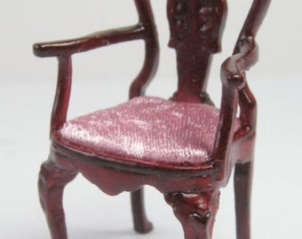 Miniature dollhouse 1:24 half scale upholstered George 1 arm chair  s0808m