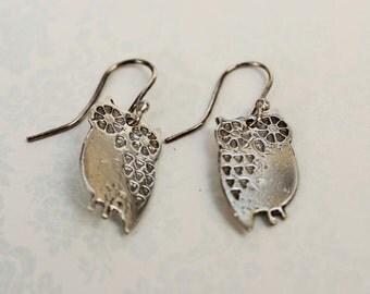 Sterling Silver Owl Earrings-Owl Earrings-Sterling Silver Owl-Owl-Animal earrings-Bird Earrings-Sterling Silver Bird Earrings-Owl Jewellery