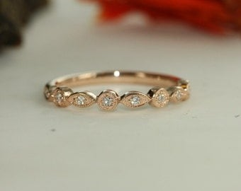Conflict Free Diamond Floral Wedding Ring in 14k Rose Gold and Diamond Solid Wedding Band Vintage Inspired  Diamond Band Half Eternity Band