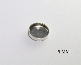 5 m''m round bezel cup sterling silver