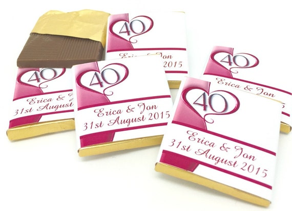 Unusual Ruby Wedding Gifts: Ruby Anniversary Personalised Chocolate Favours Ruby Wedding