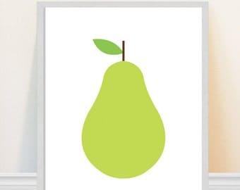 Pear Art Print Kitchen Art Scandinavian Design Pop Art Pear Retro Home Decor Mid Century Modern