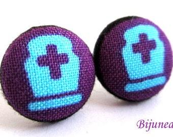 Grave earrings - Halloween earrings - Halloween grave studs - Grave studs - Grave post earrings sf1073