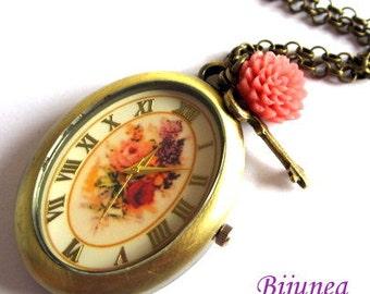 Rose watch necklace - Rose watch necklace - Rose watch necklace - Pink rose watch necklace n563
