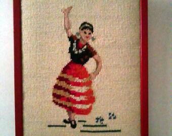 Vintage Framed Needlepoint Dancer