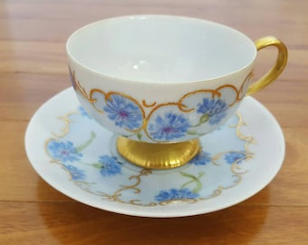 Collectible J Prentice 1961 Hand Painted CORNFLOWER Footed Tea Cup & Saucer Set
