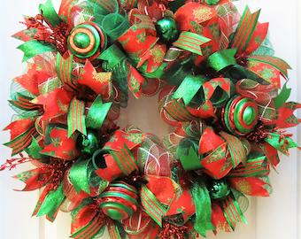 Deco Mesh Christmas, Christmas Wreaths for front door,Red Emerald Christmas Wreath, Christmas Mesh Wreath, Front Door Wreath for Christmas