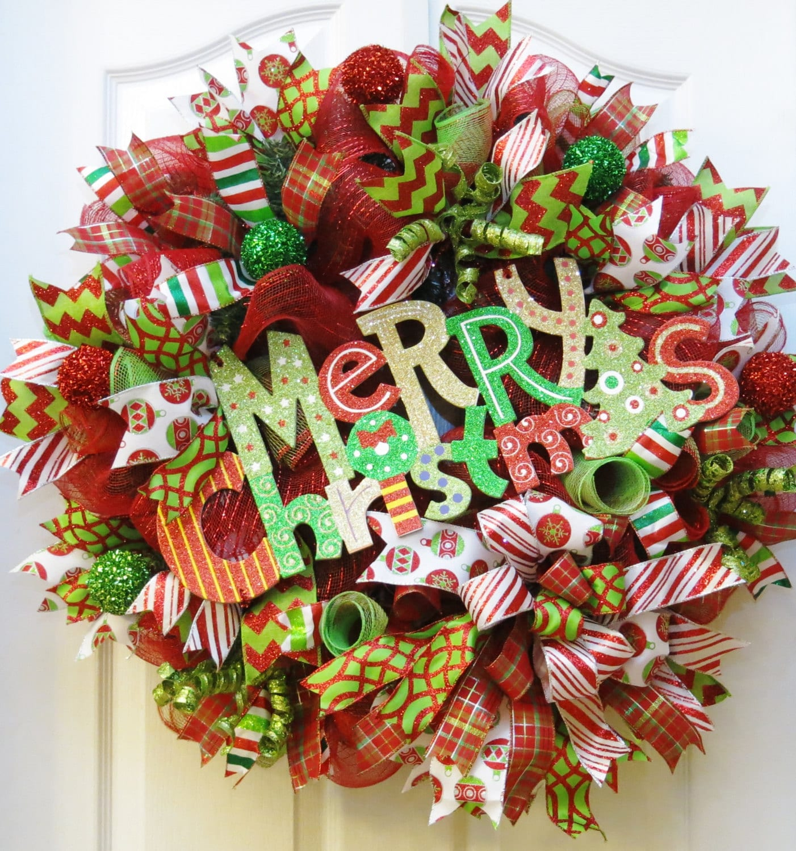 Merry Christmas Wreath Deco Mesh Christmas Wreath Red Lime