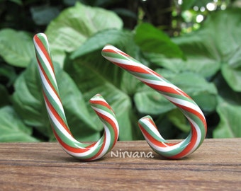 "1 Pair (2 Pieces) Red, Green & White  Glass Peppermint Candy Cane Ear Jewelry  10g 8g 6g 4g 2g 0g 00g 7/16"" 1/2"" -  5/8"" 2.5 mm 3 mm - 16 mm"
