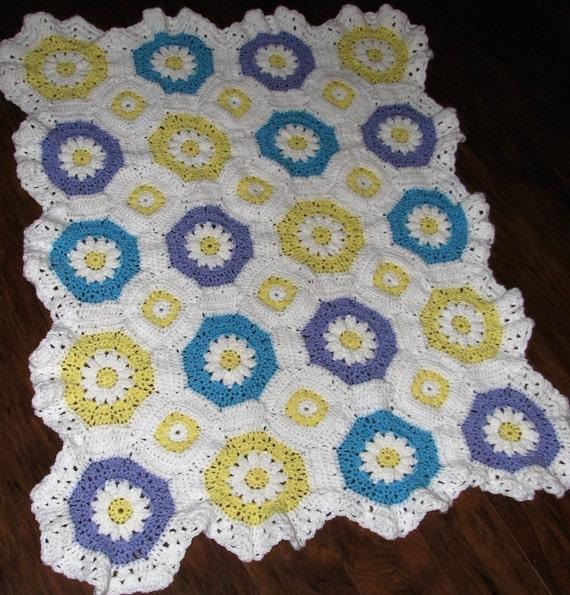 Octagon Baby Afghan Crochet Pattern : CROCHET PATTERN Lacy Daisy Octagon Granny Baby Afghan