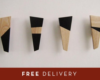 Coat rack coat hanger hat rack wood attaccapanni appendiabiti in legno intarsiato made in Italy ( set 4)