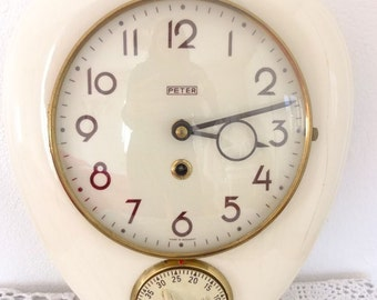 Clock kitchen clock with timer Peter mid century