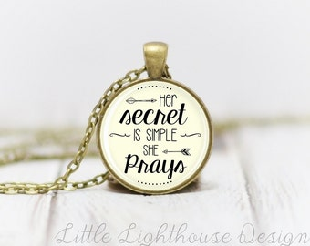 Medium She Prays Necklace Quote Necklace Quote Pendant Verse Necklace Christian Pendant Christian Jewelry Gift