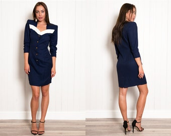 SALE 80s Navy Nautical Dress Bodycon Tailored Bodycon