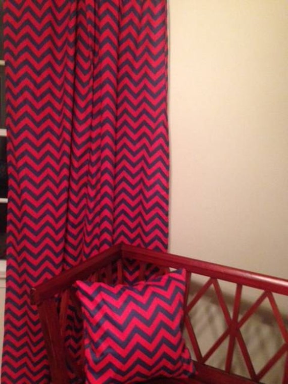 sale red and navy chevron curtains