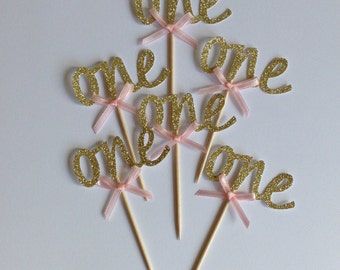12 x Gold One Cupcake Toppers with Pink Bows,, 1st Birthday Cake Toppers, Wedding Anniversary Cake Toppers
