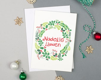 Nadolig Llawen Wreath Card - Nadolig Llawen card - Welsh Christmas Card - Welsh Card - Welsh Language Card